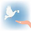 Taube mit Brief niederlasst sich auf weiblicher Handfläche