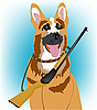 Dog with rifle | Stock Vector Graphics