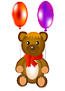Vector clipart: Toy teddy bear with air balloons