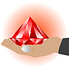 Vector clipart: hand with red jewel