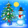 Vector clipart: Christmas tree and snowman