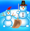 Vector clipart: Two snowmen