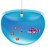Vector clipart: Fishing in aquarium