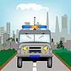 Vector clipart: Russian police car on road