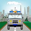 Векторный клипарт: Полицейская машина на дороге