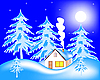 Vector clipart: house in winter forest
