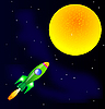 Vector clipart: Rocket in space