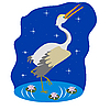 Vector clipart: Stork on water in the night