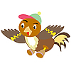 Vector clipart: Sparrow in cap and shoe