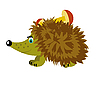 Vector clipart: Hedgehog with mushrooms