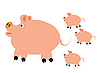 Vector clipart: Pig with small piglets