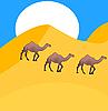 Vector clipart: Camels go in desert
