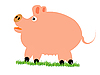 Vector clipart: Pig on grass