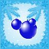 Векторный клипарт: Новогодние игрушки на ветке