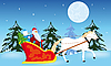Vector clipart: Santa Claus goes to sled