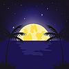Vector clipart: moonlight night in tropics