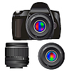 Vector clipart: Camera and lenses