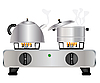 Vector clipart: Teapot and saucepan on gas stove