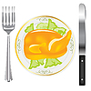 Vector clipart: Fried ham on plate