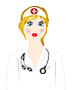 Vector clipart: Doctor woman in white robe