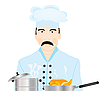 Vector clipart: Cook on kitchen