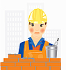 Vector clipart: Worker builder places brick