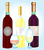 Three bottles blame and goblets   Stock Vector Graphics