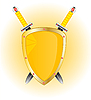 Vector clipart: Gold shield and weapon