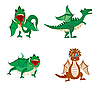 Vector clipart: Much dragons