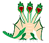 Vector clipart: Dragon with three heads