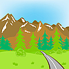 Vector clipart: Road in mountains
