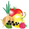 Векторный клипарт: Овощи и ягоды с фруктами