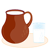Clay pitcher and glass with milk