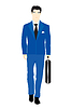 Vector clipart: man in blue suit with valise