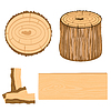 Vector clipart: Wooden subjects