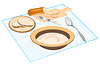 Vector clipart: Products feeding on tablecloths
