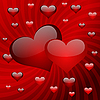 Two hearts on red striped background