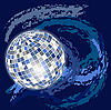 Vector clipart: blue space background with disco ball