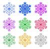Vector clipart: coloured snowflakes