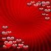 Hearts on red striped background