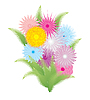 Vector clipart: Beautiful bouquet of colored flowers