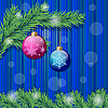 Vector clipart: Two christmas balls and christmas tree branch