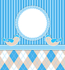 Vector clipart: Baby boy card with birds