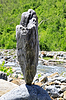 Balanced stones near mountain river | Stock Foto