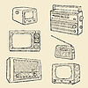Vector clipart: Retro TV-Set and Radio