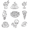 Vector clipart: Cakes and icecream