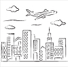 Vector clipart: airplane over the city