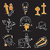 Векторный клипарт: Хэллоуин и кладбище