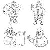 Vector clipart: four Santas
