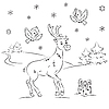 Vector clipart: Reindeer Rudolf with Gift